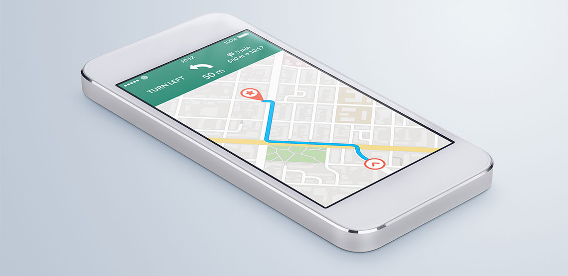 iPhone with GPS app open