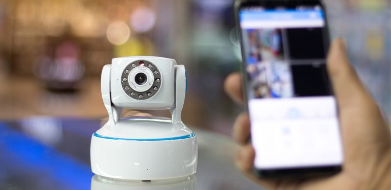 Security camera and a phone