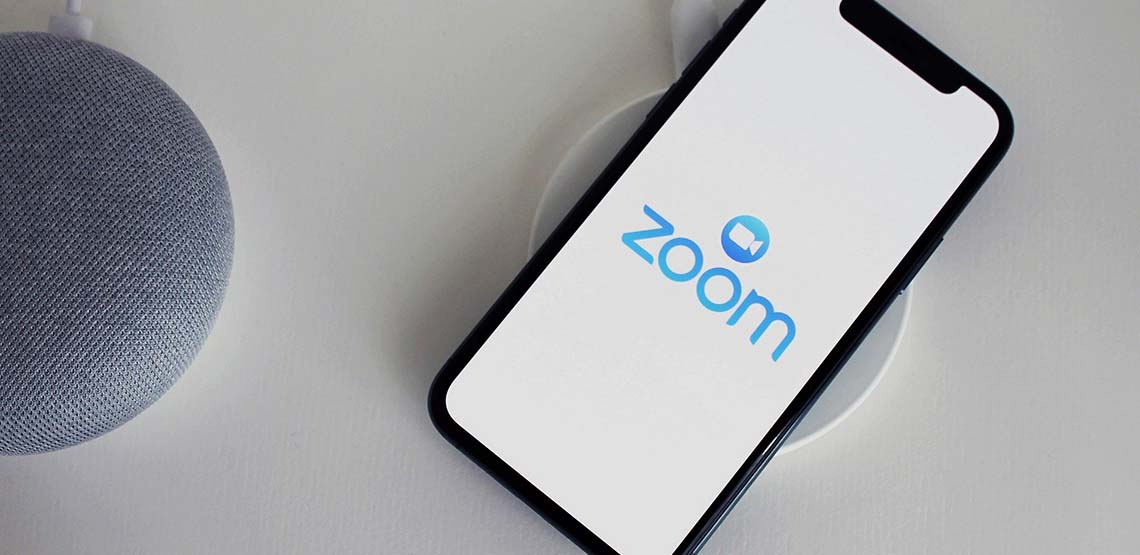 The Zoom app opened on someone's mobile phone.