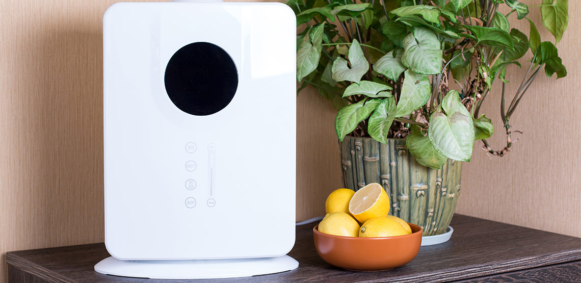 Air purifier and bowl of lemons