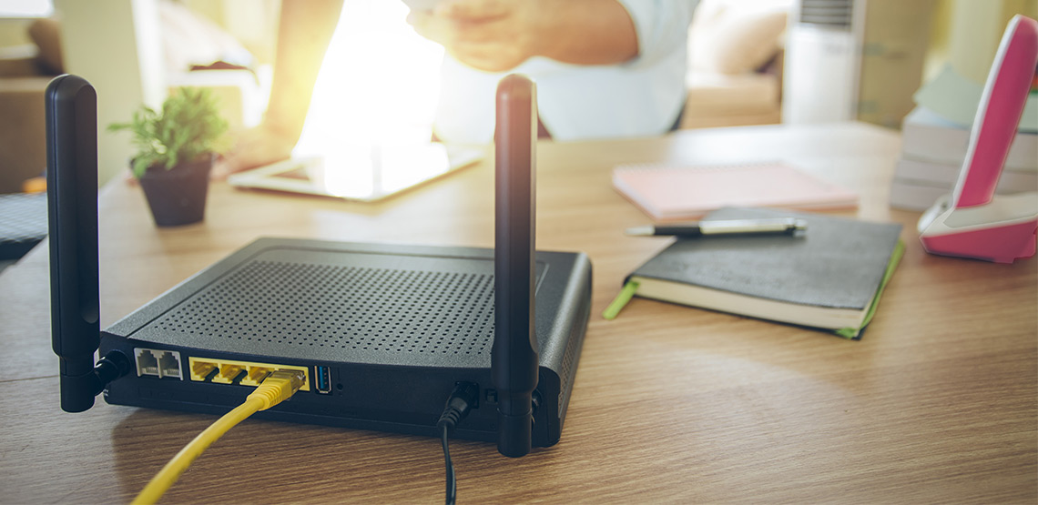 Router sitting on a desk