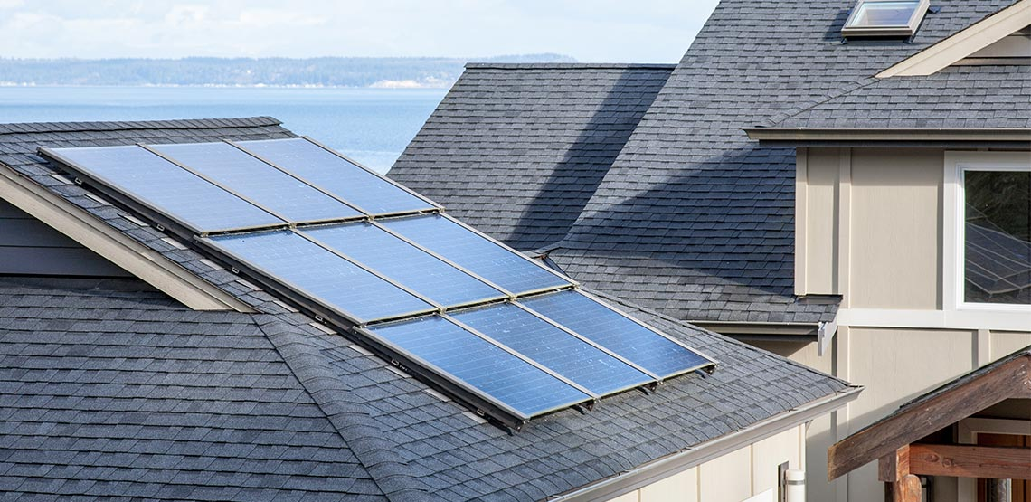Solar panels on roof of a house