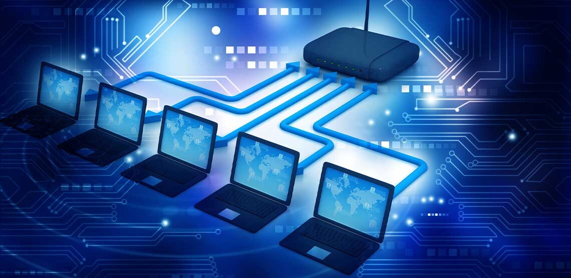 A CGI image that shows five laptops linking up to a router.