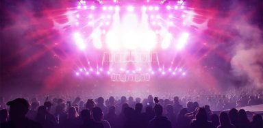 Pink lights at a concert.